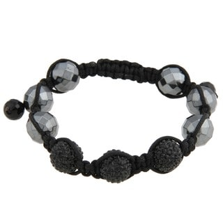 La Preciosa Men's 12-mm Hematite Bead and Crystal Macrame Bracelet