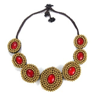 Cotton Rope Eye-catcher Red Coral and Brass Bead Necklace (Thailand)