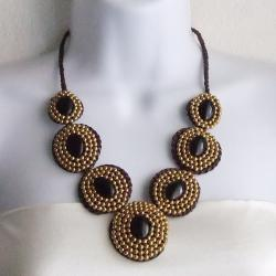 Cotton Rope Eye-catcher Black Onyx and Brass Bead Necklace (Thailand)
