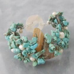 Abalone/Turquoise/Pearl Cluster Toggle Bracelet (5-8 mm) (Philippines)