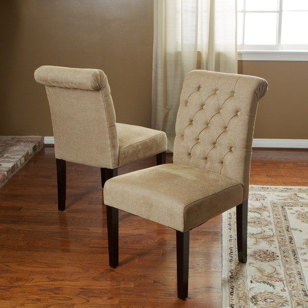 Christopher Knight Home Dinah Roll Top Light Brown Fabric Dining Chair (Set of 2)