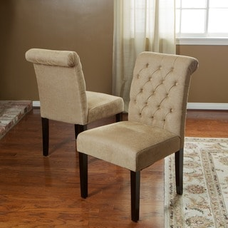 Light Brown Tufted Dining Chairs (Set of 2)
