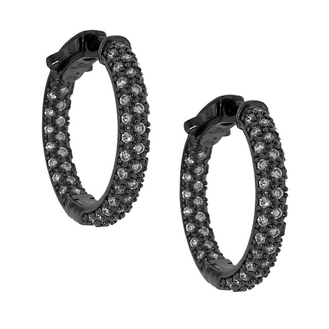 Sterling Silver Black Rhodium-plated Cubic Zirconia Hoop Earrings