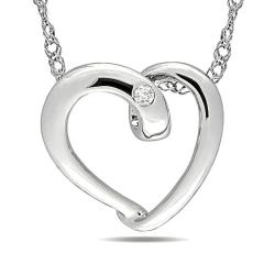 Miadora 10k White Gold Diamond Accent Heart Necklace