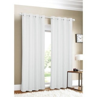Linen Grommet Top 96-inch White Curtain Panel