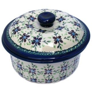Handmade Polish Stoneware Five-cup Lidded Floral Casserole (Poland)