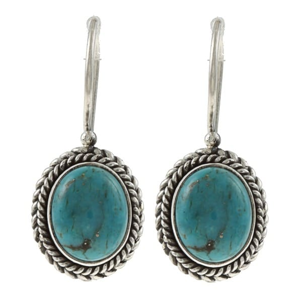 Kabella Lily B Sterling Silver Synthetic Turquoise Twisted Rope Earrings