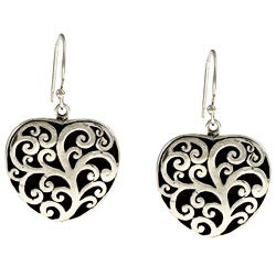 Kabella Lily B Sterling Silver Antiqued Tree Design Heart Earrings