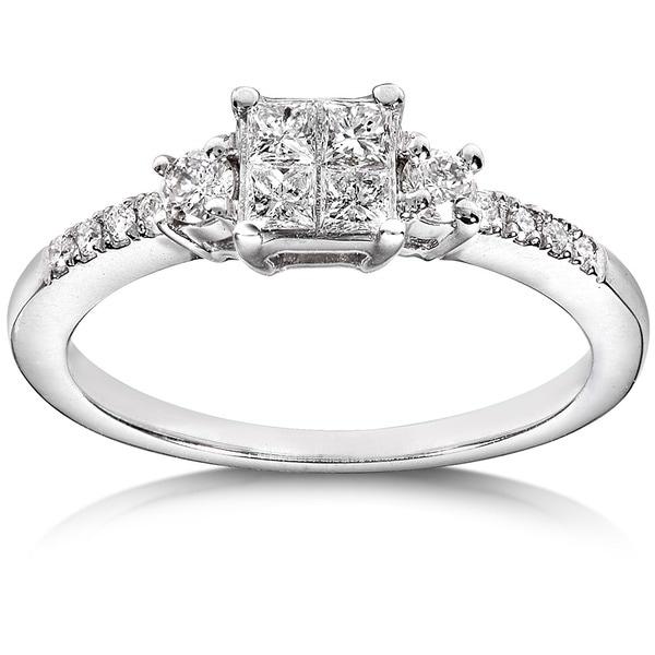 Annello 14k White Gold 3/8ct TDW Diamond Engagement Ring (H-I, I1-I2)