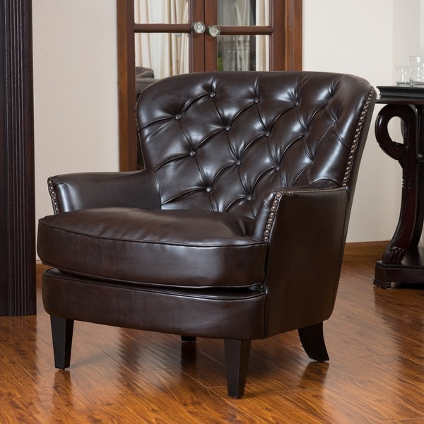 Christopher Knight Home Tafton Tufted Brown Leather Club Chair 13724005 O
