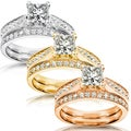Annello 14k White Gold 1 1/3ct TDW Diamond Bridal Ring Set (H-I, I1-I2)
