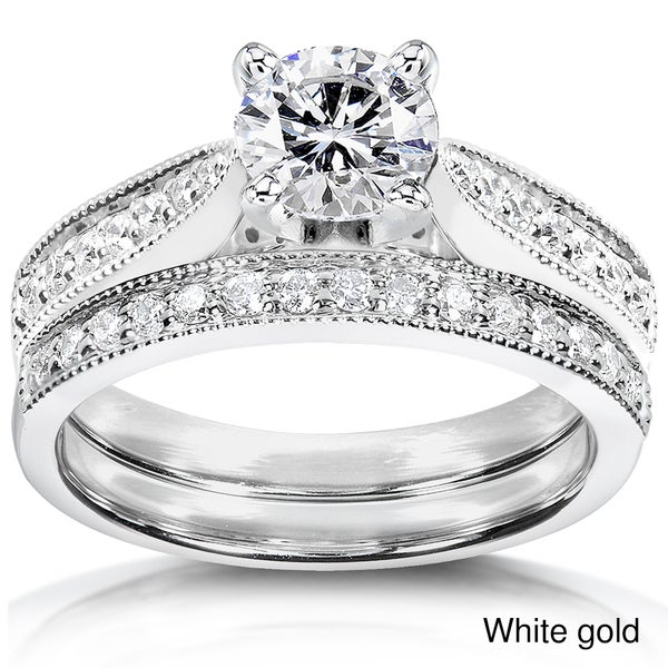 Annello 14k Gold 1 1/3ct TDW Round Cut Diamond Bridal Set (H-I, I1-I2)
