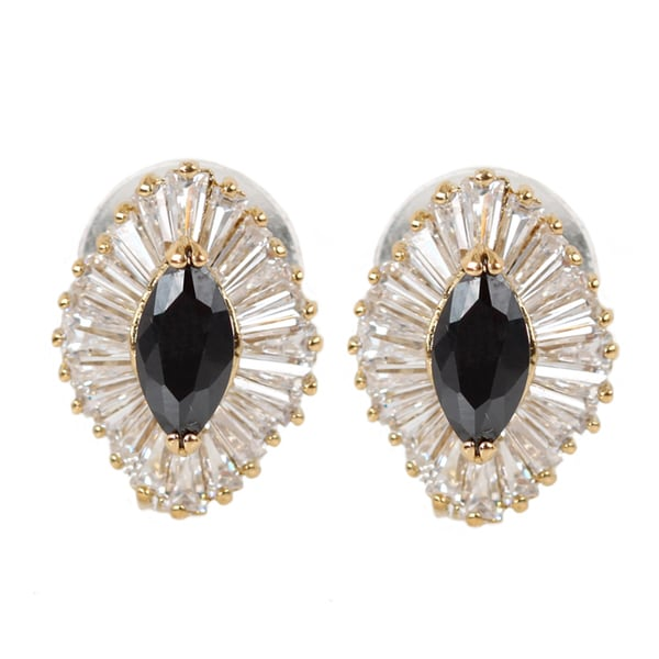 NEXTE Jewelry Goldtone Black and White Cubic Zirconia Earrings