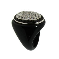 Sterling Silver Black and White Cubic Zirconia Chunky Ring