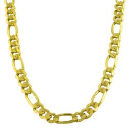 Fremada 14k Yellow Gold Concave Figaro Chain Necklace (24-inch)