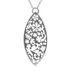 Journee Collection Silvertone CZ Floral Cut-out Necklace