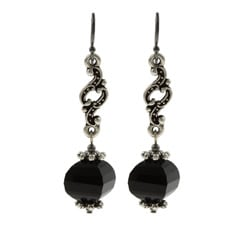 MSDjCASANOVA Tierracast Pewter A Swirl of Onyx Earrings
