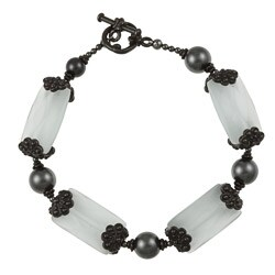 MSDjCASANOVA Pewter Easy Elegance Fiber Optic Bead/ Crystal Bracelet