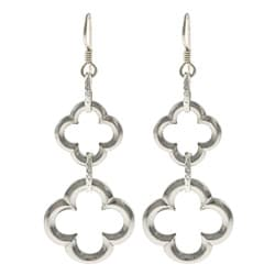 MSDjCASANOVA Tierracast Pewter/ Silver Double Lucky Clover Earrings
