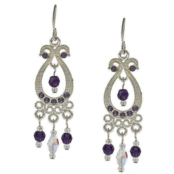 Tierracast Purple Velvet Crystal Chandelier Earrings