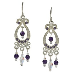 Tierracast Purple Velvet Crystal Chandelier Earrings