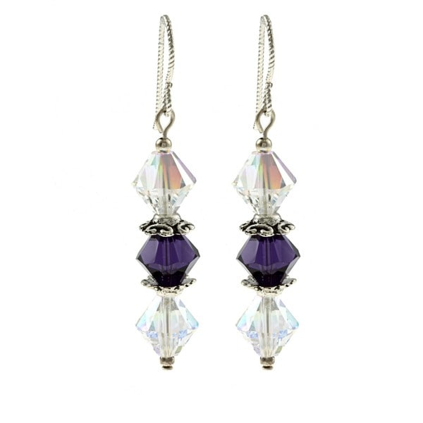 MSDjCASANOVA Pewter Purple Velvet Sparkle Threesome Crystal Earrings