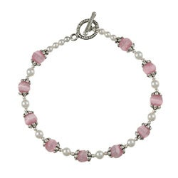 MS DJ Casanova Silverplated Pewter Pink Cat's Eye and Crystal Bracelet