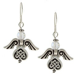 Silverplated Pewter Celtic Angel Crystal Earrings