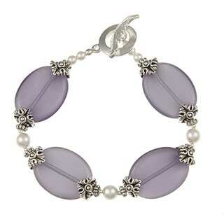 MSDjCASANOVA Tierracast Purple Fiber Optic/ Crystal Beaded Bracelet