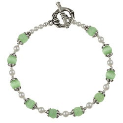 MSDjCASANOVA Silverplated Pewter Green Cat's Eye/ Crystal Bracelet