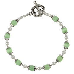 Silverplated Pewter Green Cat's Eye/ Crystal Bracelet