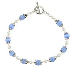 Silverplated Pewter Blue Cat's Eye and Crystal Bracelet