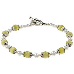 MSDjCASANOVA Silverplated Sunshine Cat's Eye and Crystal Bracelet