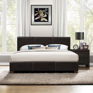 Hermes Dark Brown Queen-size Platform Bed and Nightstand