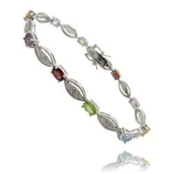 Dolce Giavonna Multi-Gemstone and Diamond Accent Link Bracelet (I-J, I1-I2)