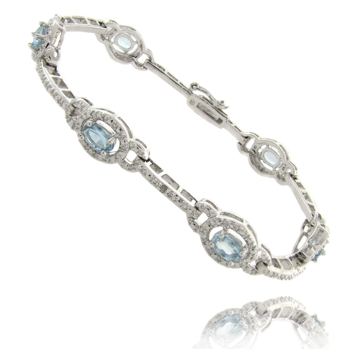 Dolce Giavonna Silverplated Blue Topaz and Diamond Accent Link Bracelet