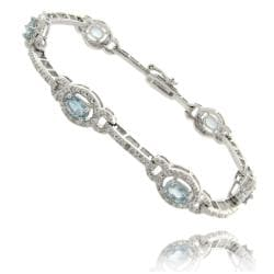 Dolce Giavonna Silver Overlay Blue Topaz and Diamond Accent Link Bracelet