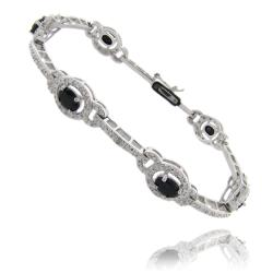Dolce Giavonna Silverplated Sapphire and Diamond Accent Bracelet