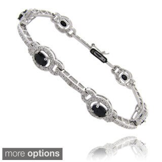 Dolce Giavonna Silverplated Gemstone and Diamond Accent Bracelet
