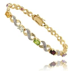 Dolce Giavonna Gold Overlay Multi-Gemstone and Diamond Accent 'X' and 'O' Bracelet