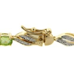 Dolce Giavonna Gold Overlay Multi-Gemstone and Diamond Accent Link Bracelet