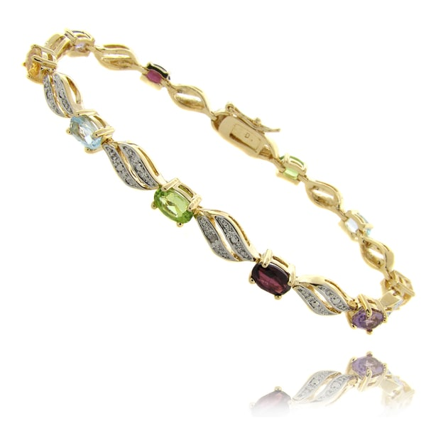 Dolce Giavonna 14k Gold Overlay Multi-Gemstone and Diamond Accent Link Bracelet