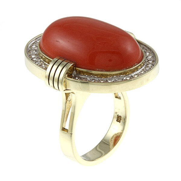 Pre-owned 14k Yellow Gold Coral and 3/4ct TDW Diamond Estate Ring (K-L, SI1-SI2)