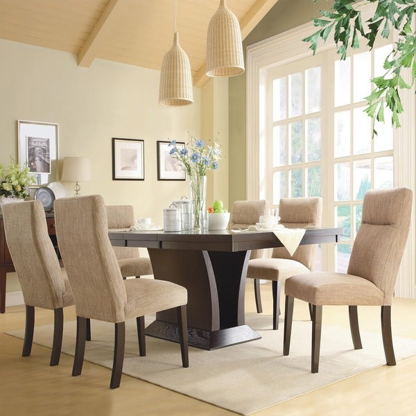tribecca home charles espresso 7 piece contemporary dining set