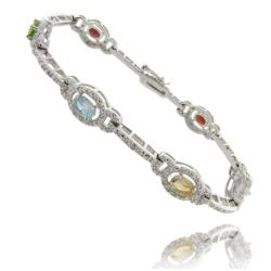 Dolce Giavonna Silver Overlay Multi-Gemstone and Diamond Accent Link Bracelet