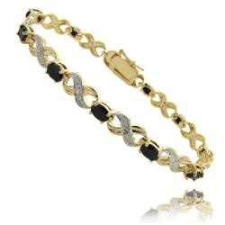 Dolce Giavonna 14k Gold Overlay Sapphire and Diamond Accent 'X' and 'O' Bracelet