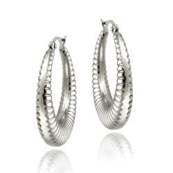 Mondevio Stainless Steel Rope Design Hoop Earrings
