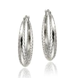 Mondevio Stainless Steel Textured Design Hoop Earrings