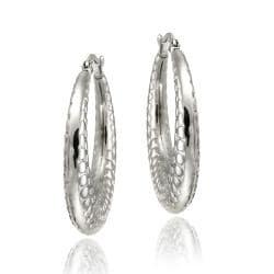 Mondevio Stainless Steel Textured Design Hoop Earrings