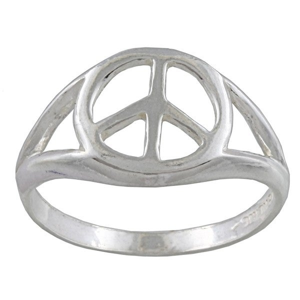 Silvermoon Sterling Silver Peace Sign Ring